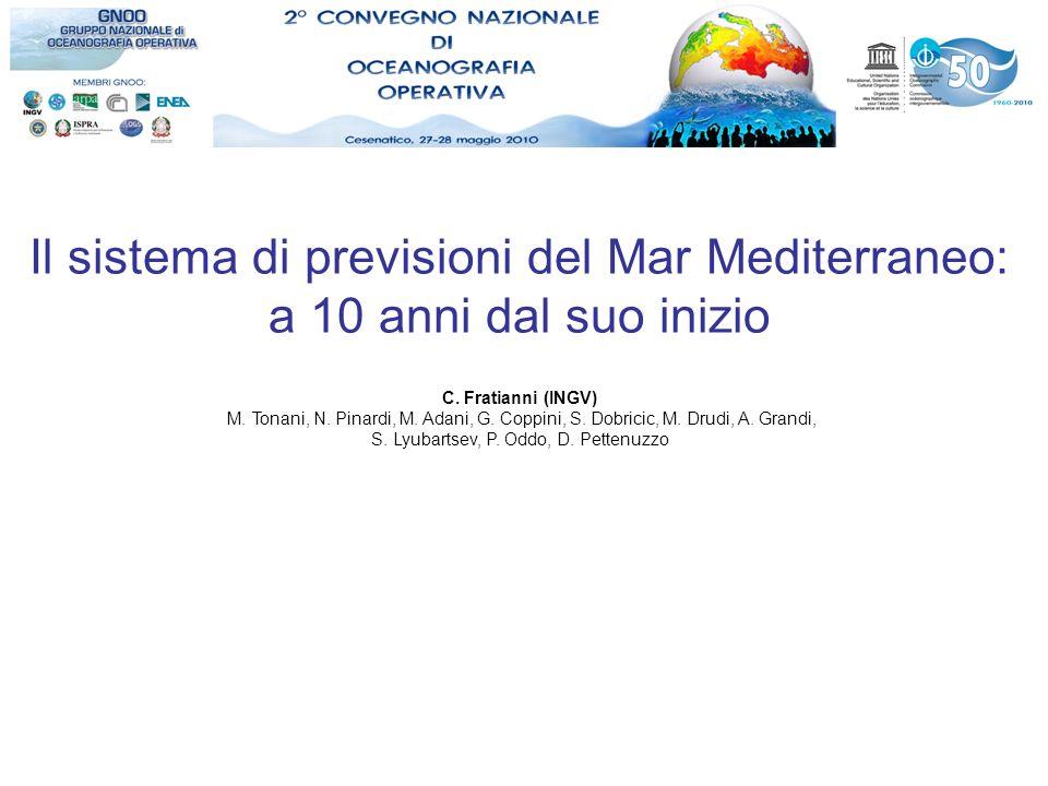 Il sistema di previsioni del Mar Mediterraneo: a 10 anni dal suo inizio C. Fratianni (INGV) M. Tonani, N. Pinardi, M. Adani, G. Coppini, S. Dobricic,