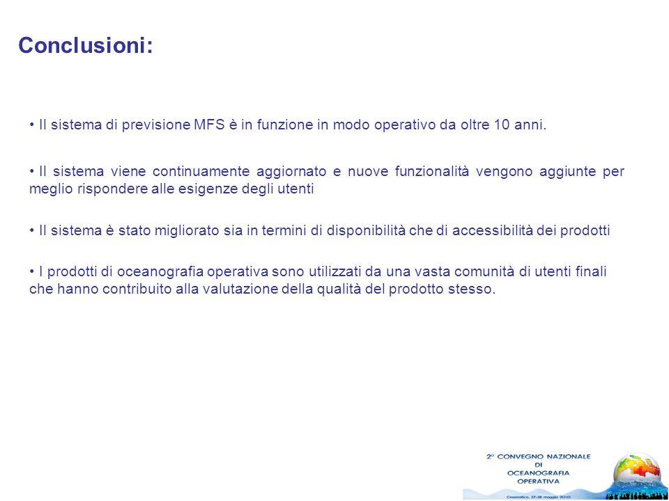 Conclusioni: Il sistema di previsione MFS è in funzione in modo operativo da oltre 10 anni. Il sistema viene continuamente aggiornato e nuove funziona