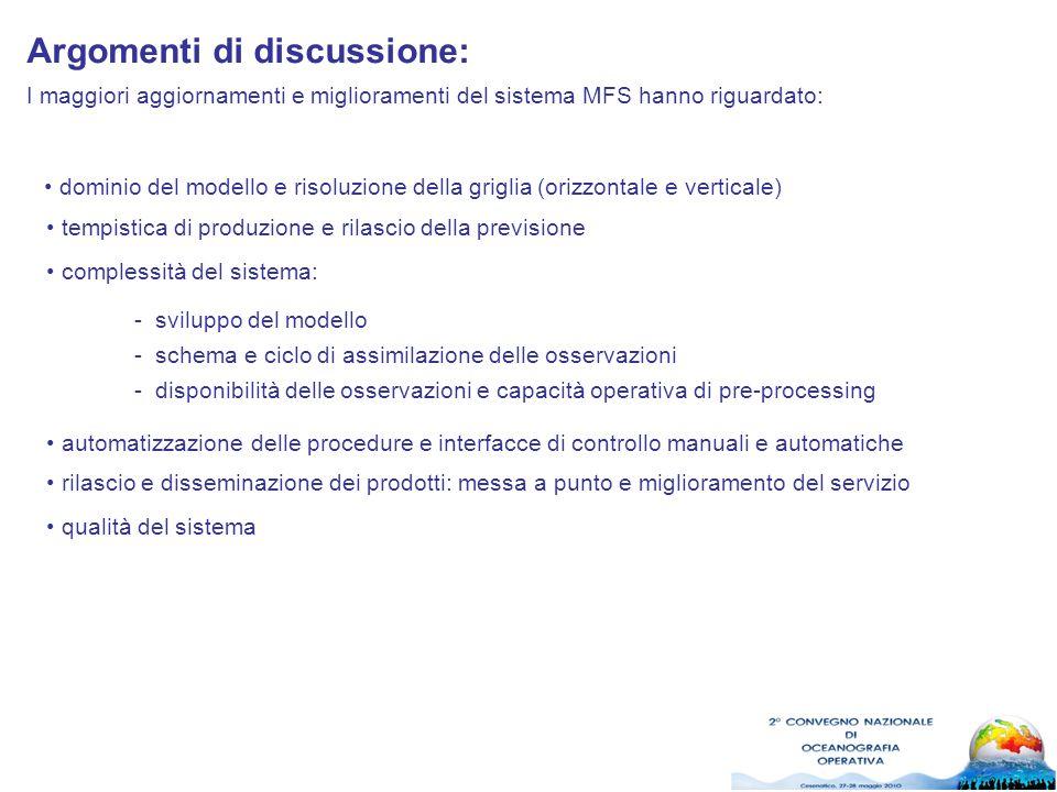 I maggiori aggiornamenti e miglioramenti del sistema MFS hanno riguardato: Argomenti di discussione: dominio del modello e risoluzione della griglia (