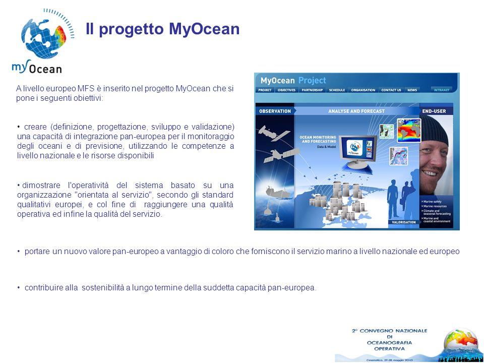 Il progetto MyOcean A livello europeo MFS è inserito nel progetto MyOcean che si pone i seguenti obiettivi: creare (definizione, progettazione, svilup