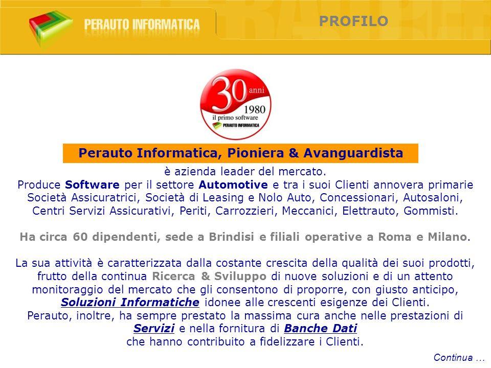 Perauto Open System Software PIONIERA & AVANGUARDISTA Continua … PORTALE CENTRO PERITALE OMNIA