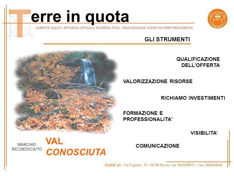 AMBIENTE QUALITA EFFICIENZA EFFICACIA SICUREZZA ETICA ORGANIZZAZIONE MARKETING TERRITORIALE SERVIZI GLAUX srl - Via Fogliano, 10 – 00199 Roma – tel.