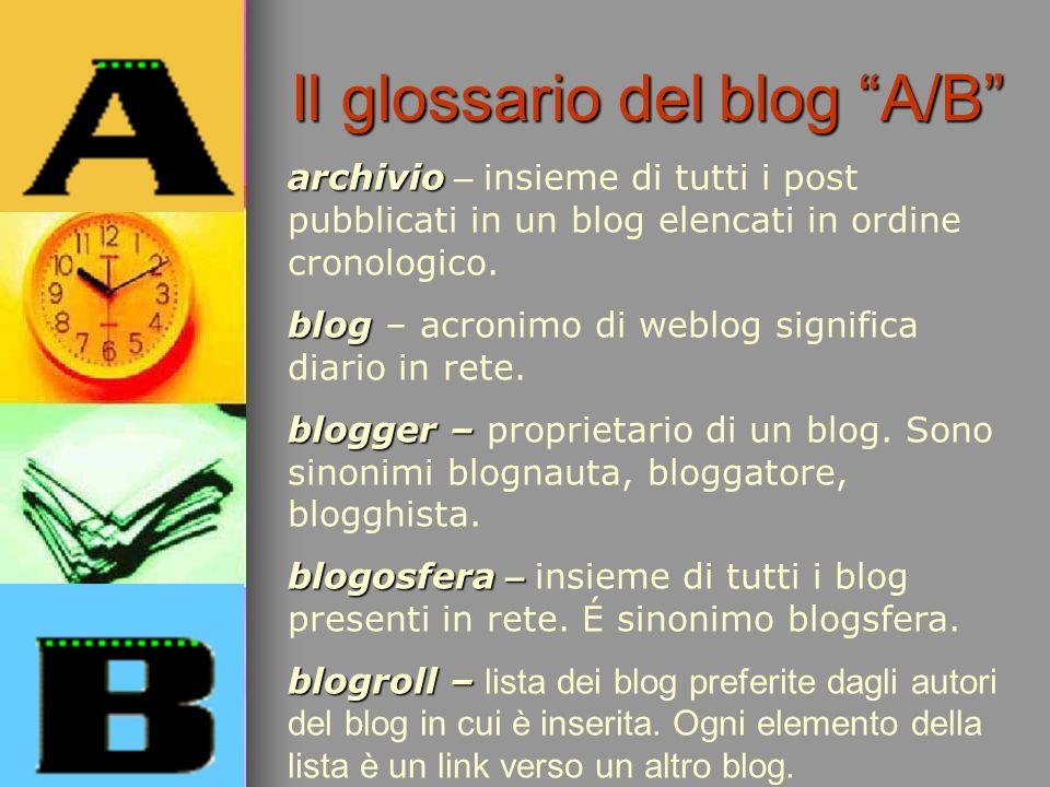 archivio archivio – insieme di tutti i post pubblicati in un blog elencati in ordine cronologico. blog blog – acronimo di weblog significa diario in r