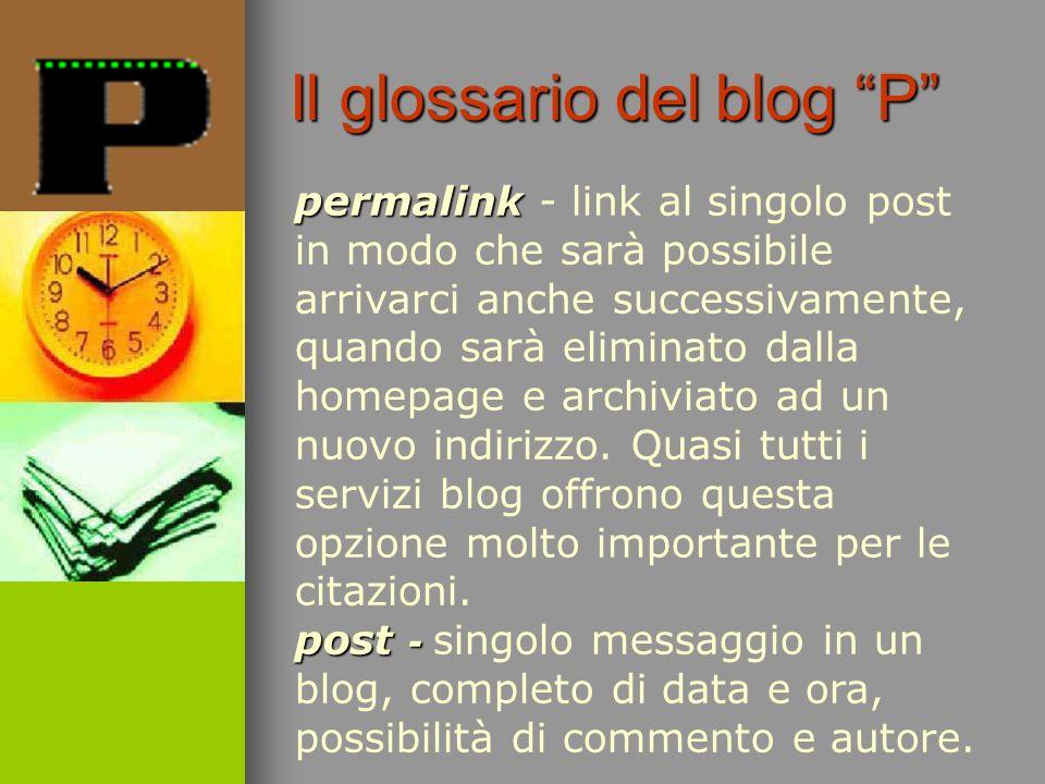 permalink post - permalink - link al singolo post in modo che sarà possibile arrivarci anche successivamente, quando sarà eliminato dalla homepage e a