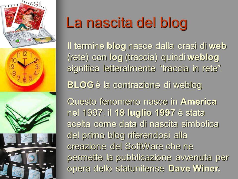 La nascita del blog Il termineblognasce dalla crasi diweb (rete) con log(traccia) quindiweblog significa letteralmente traccia in rete Il termine blog