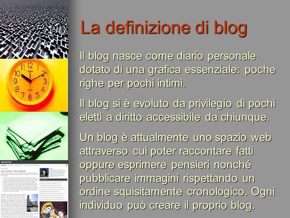 Le caratteristiche peculiari di un blog sono: la gratuità; la facilità d uso; la fruibilità del messaggio in esso contenuto; limpostazione strutturale formata da elementi standard (post, permalink, commenti, link, archivio, categorie, contatti, blogroll, template, lettori, autori, statistiche, sondaggi).