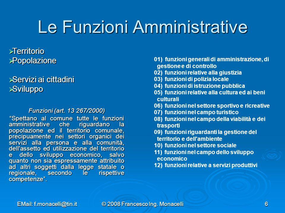 EMail: f.monacelli@tin.it© 2008 Francesco Ing. Monacelli37 Regole dellOrganizzazione