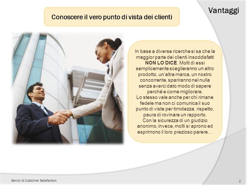 Vantaggi Servizi di Customer Satisfaction Conoscere il vero punto di vista dei clienti 2 In base a diverse ricerche si sa che la maggior parte dei cli