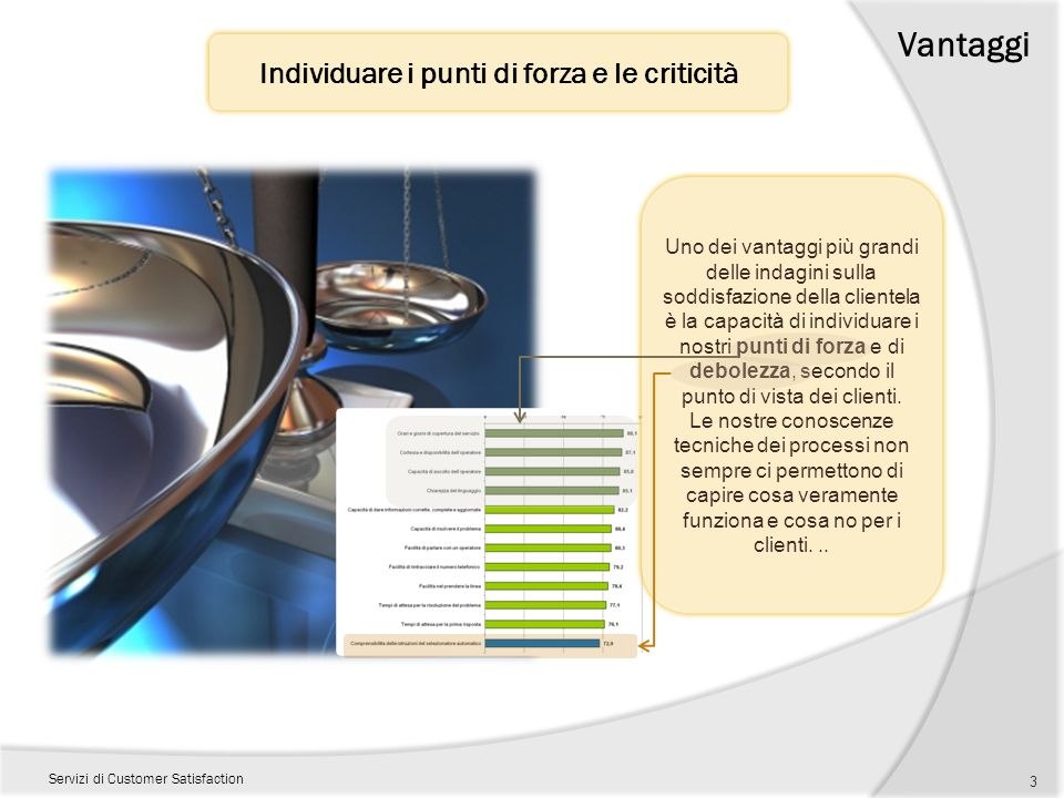 Vantaggi Servizi di Customer Satisfaction Individuare i punti di forza e le criticità 3 Uno dei vantaggi più grandi delle indagini sulla soddisfazione