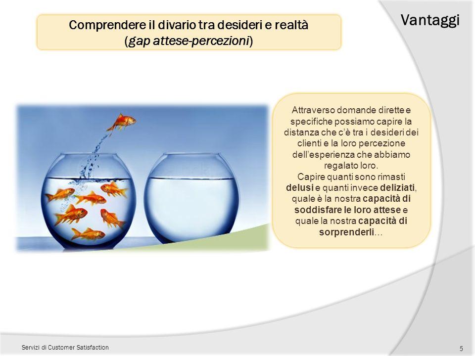 Comprendere il divario tra desideri e realtà (gap attese-percezioni) Vantaggi Servizi di Customer Satisfaction 5 Attraverso domande dirette e specific