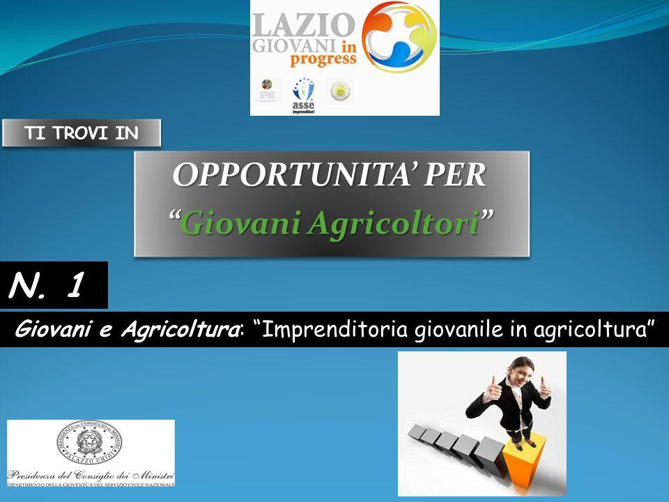 OPPORTUNITA PER Giovani AgricoltoriGiovani Agricoltori OPPORTUNITA PER Giovani AgricoltoriGiovani Agricoltori Giovani e Agricoltura: Imprenditoria giovanile in agricoltura N.