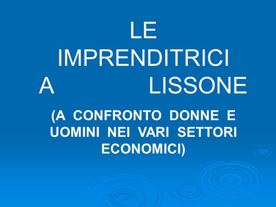 LE IMPRENDITRICI A LISSONE (A CONFRONTO DONNE E UOMINI NEI VARI SETTORI ECONOMICI)