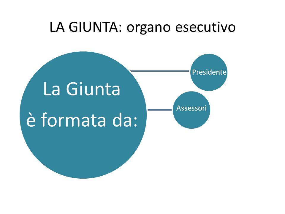 LA GIUNTA: organo esecutivo La Giunta è formata da: Presidente Assessori