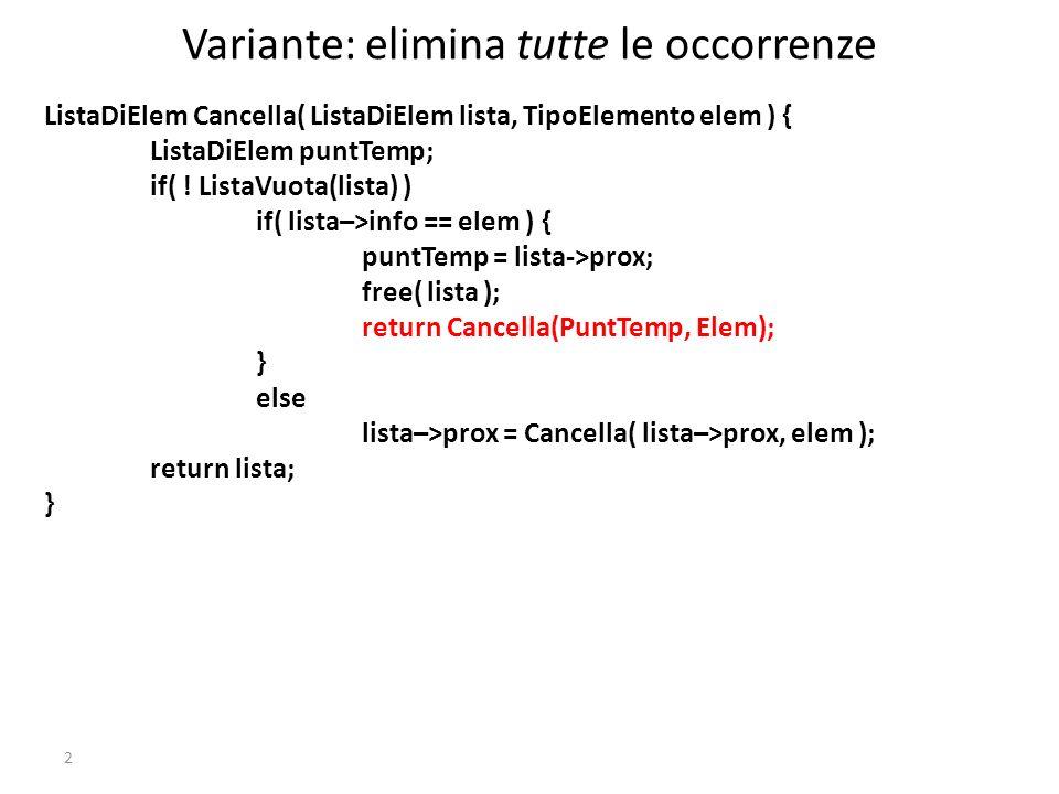 #define SENTINELLA -1 typedef int TipoElemento; int main() { int n; ListaDiElem lista = Inizializza(); scanf( %d , &n); while( n != SENTINELLA ) { lista = InsInTesta( lista, n ); scanf( %d , &n); } VisualizzaLista(lista); return 0; } 13 Questo è un programma che, mentre acquisisce la sequenza, ha laccortezza di memorizzarla al contrario Possiamo sfruttare il principio per una funzione che realizzi l inversione di una lista data?