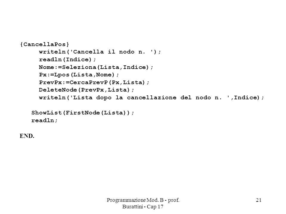 Programmazione Mod. B - prof. Burattini - Cap 17 21 {CancellaPos} writeln( Cancella il nodo n.