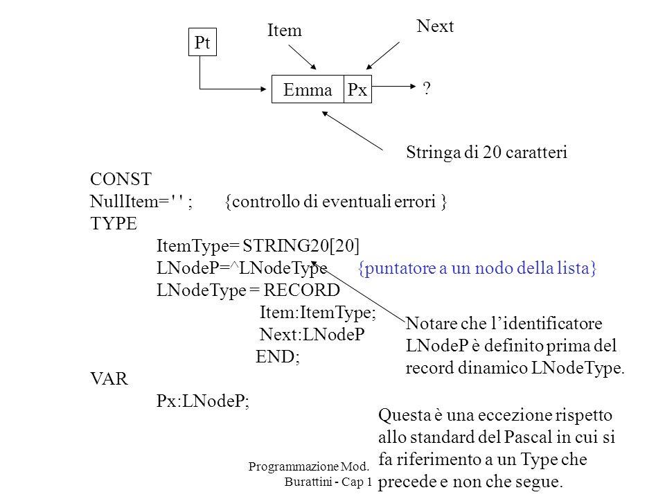 Programmazione Mod. B - prof. Burattini - Cap 17 4 PxEmma .