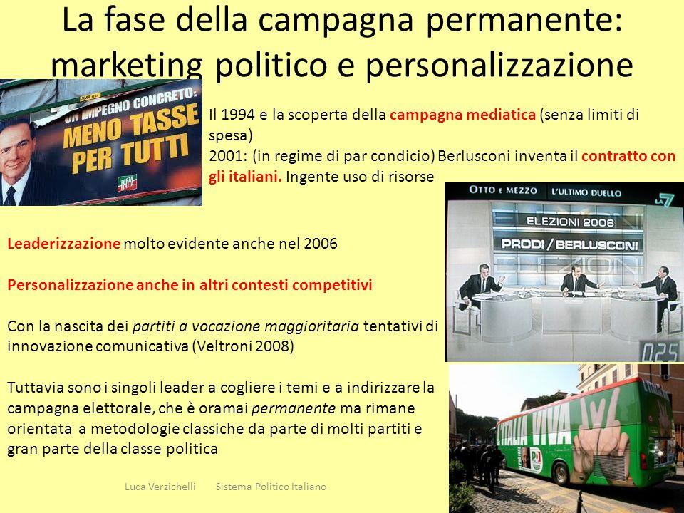 La fase della campagna permanente: marketing politico e personalizzazione 14 Luca Verzichelli Sistema Politico Italiano Il 1994 e la scoperta della ca