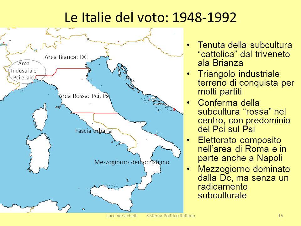 Le Italie del voto: 1948-1992 Tenuta della subcultura cattolica dal triveneto ala Brianza Triangolo industriale terreno di conquista per molti partiti