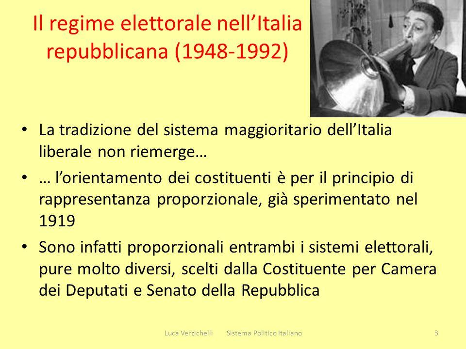 Il regime elettorale nellItalia repubblicana (1948-1992) La tradizione del sistema maggioritario dellItalia liberale non riemerge… … lorientamento dei