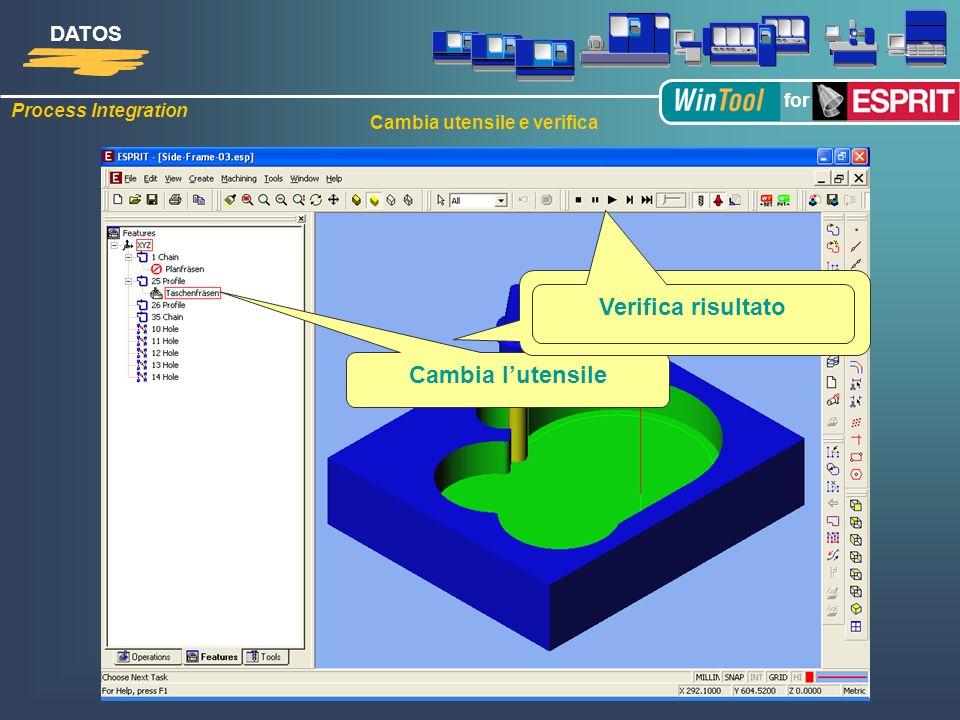 Process Integration DATOS for Cambia utensile e verifica Cambia lutensile Seleziona lutensile nuovo con i parametri di taglio Verifica risultato