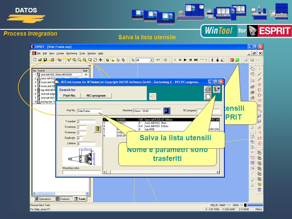 Process Integration DATOS for Salva la lista utensili in biblioteca WinTool Salva la lista utensile trasferisci gli utensili utilizzati da ESPRIT Uten