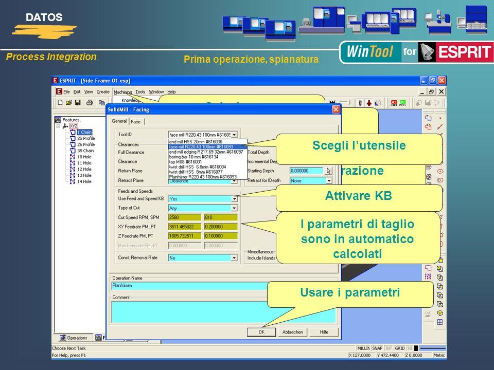Process Integration DATOS for Prima operazione, spianatura 1. Operazione: Spianatura Seleziona … … Operazione Scegli lutensile Attivare KB I parametri