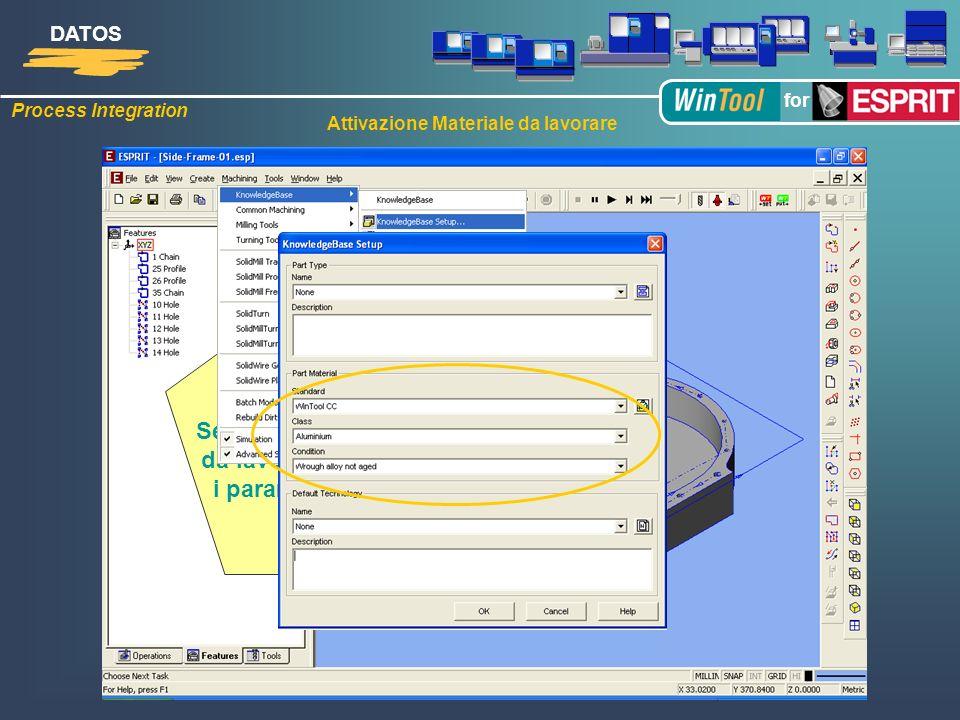 Process Integration DATOS for Seleziona il materiale da lavorare per avere i parametri di taglio Attivazione Materiale da lavorare