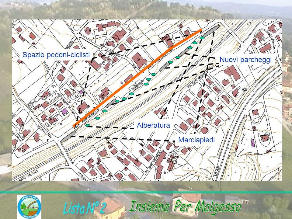 Marciapiedi Alberatura Nuovi parcheggi Spazio pedoni-ciclisti
