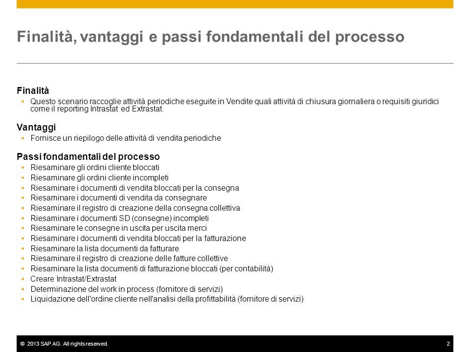 ©2013 SAP AG. All rights reserved.2 Finalità, vantaggi e passi fondamentali del processo Finalità Questo scenario raccoglie attività periodiche esegui