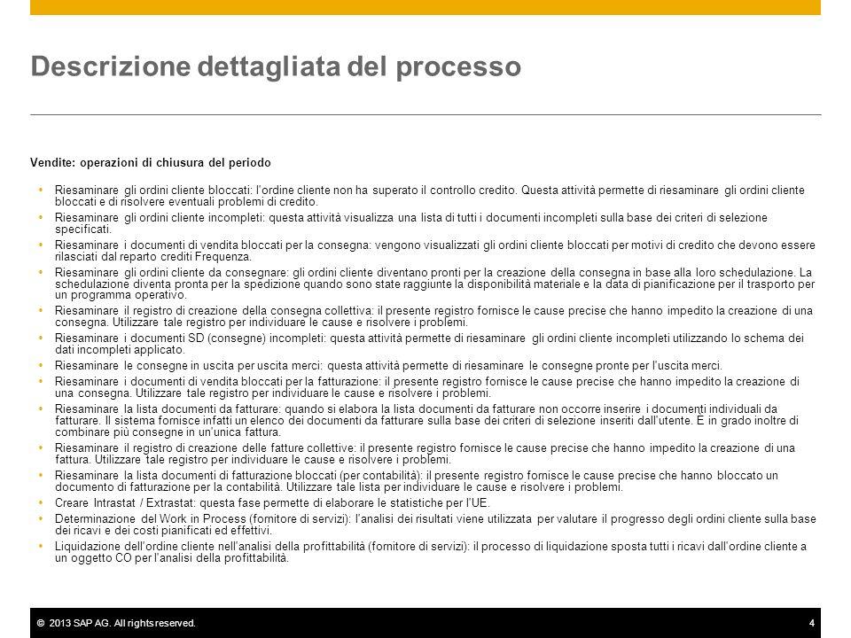 ©2013 SAP AG. All rights reserved.4 Descrizione dettagliata del processo Vendite: operazioni di chiusura del periodo Riesaminare gli ordini cliente bl