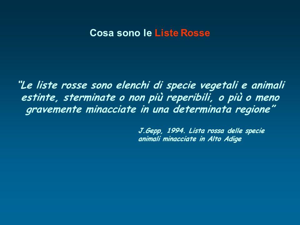 Cosa sono le Liste Rosse Le liste rosse sono elenchi di specie vegetali e animali estinte, sterminate o non più reperibili, o più o meno gravemente mi