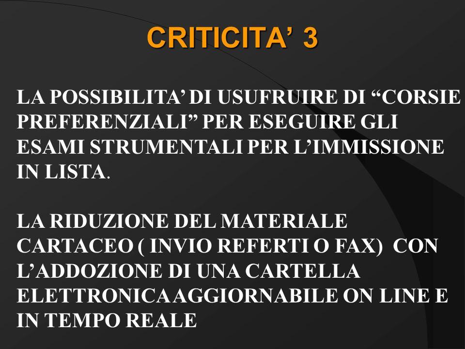 CRITICITA 3 LA POSSIBILITA DI USUFRUIRE DI CORSIE PREFERENZIALI PER ESEGUIRE GLI ESAMI STRUMENTALI PER LIMMISSIONE IN LISTA.