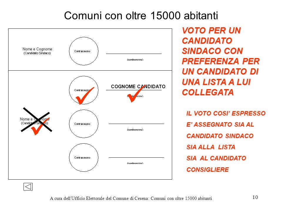 A cura dell'Ufficio Elettorale del Comune di Cesena: Comuni con oltre 15000 abitanti 10 Comuni con oltre 15000 abitanti VOTO PER UN CANDIDATO SINDACO