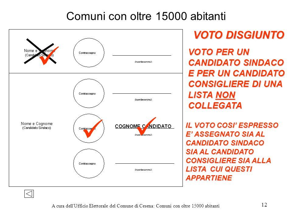A cura dell'Ufficio Elettorale del Comune di Cesena: Comuni con oltre 15000 abitanti 12 Comuni con oltre 15000 abitanti VOTO DISGIUNTO VOTO PER UN CAN