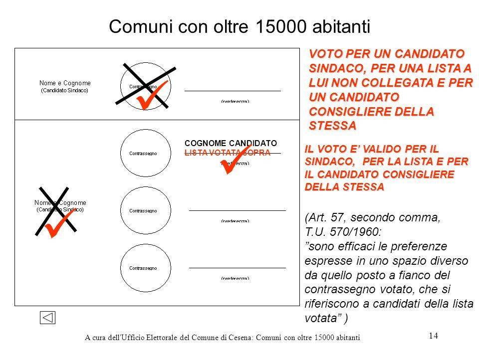 A cura dell'Ufficio Elettorale del Comune di Cesena: Comuni con oltre 15000 abitanti 14 Comuni con oltre 15000 abitanti VOTO PER UN CANDIDATO SINDACO,