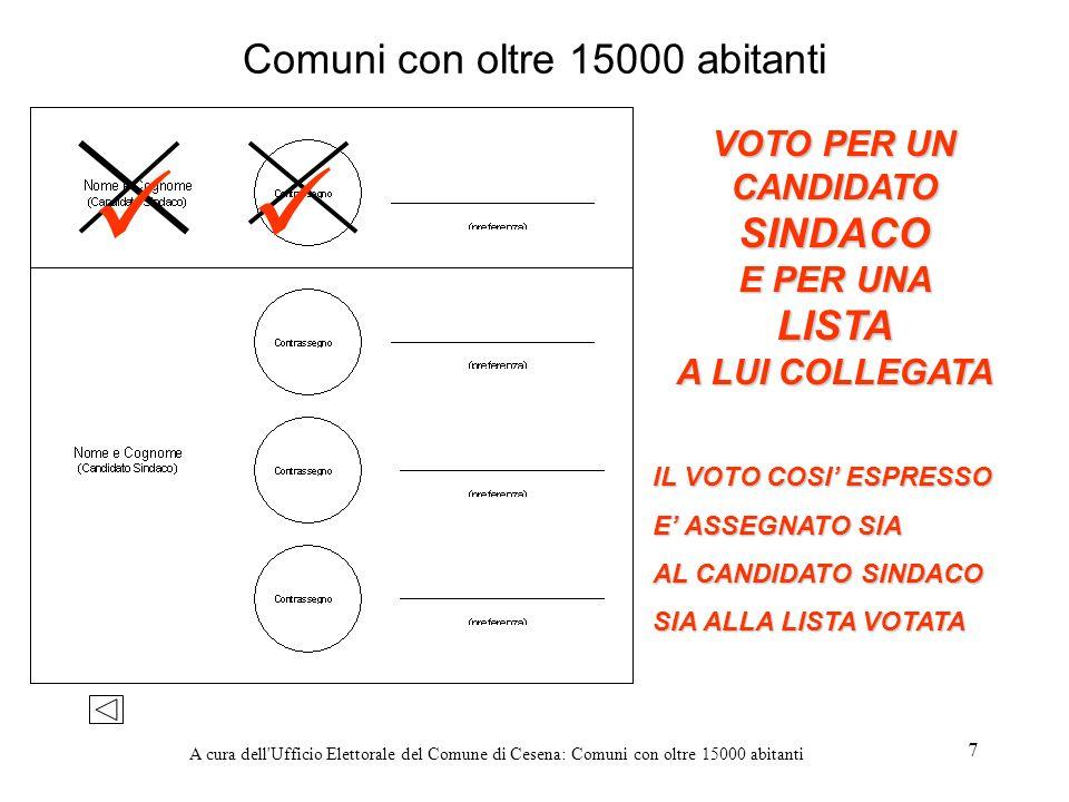 A cura dell'Ufficio Elettorale del Comune di Cesena: Comuni con oltre 15000 abitanti 7 Comuni con oltre 15000 abitanti IL VOTO COSI ESPRESSO E ASSEGNA