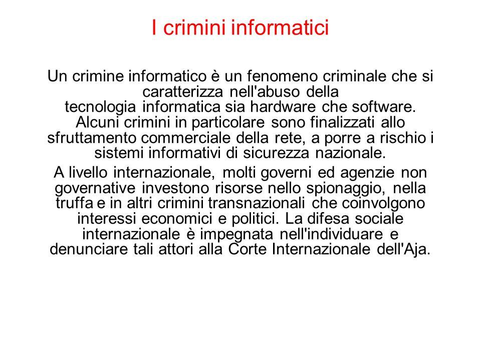 I crimini informatici Un crimine informatico è un fenomeno criminale che si caratterizza nell'abuso della tecnologia informatica sia hardware che soft