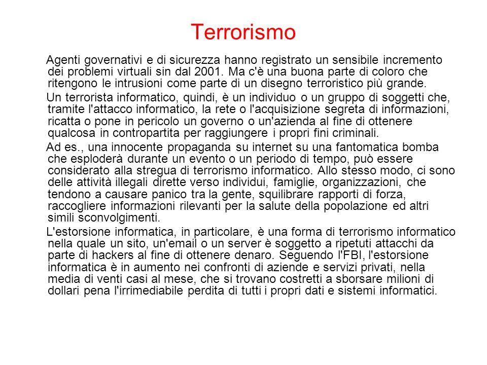 Terrorismo Agenti governativi e di sicurezza hanno registrato un sensibile incremento dei problemi virtuali sin dal 2001. Ma c'è una buona parte di co