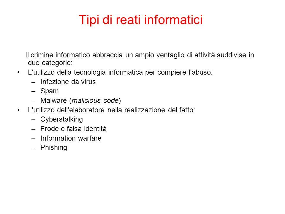 Tipi di reati informatici Il crimine informatico abbraccia un ampio ventaglio di attività suddivise in due categorie: L'utilizzo della tecnologia info