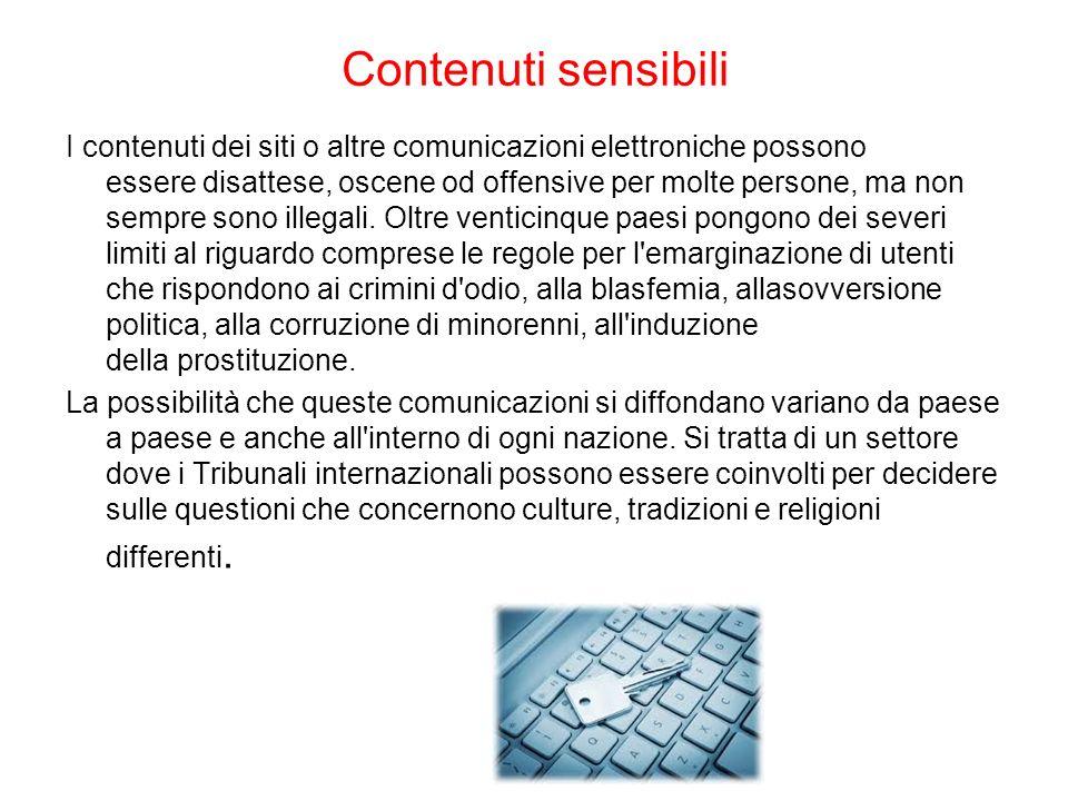 Contenuti sensibili I contenuti dei siti o altre comunicazioni elettroniche possono essere disattese, oscene od offensive per molte persone, ma non se