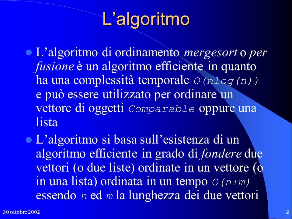 30 ottobre 20023 Fusione di due liste ordinate Due liste l1 e l2 ordinate di lunghezza n e m possono essere fuse in ununica lista ordinata con il seguente algoritmo Sia l una nuova lista vuota mentre le due liste l1 e l2 non sono vuote se testa(l1) < testa(l2) accoda(testa(l1)) a l; l1 = resto(l1) altrimenti accoda(testa(l2)) a l; l2 = resto(l2) se l1 non è vuota accoda l1 a l altrimenti accoda l2 a l