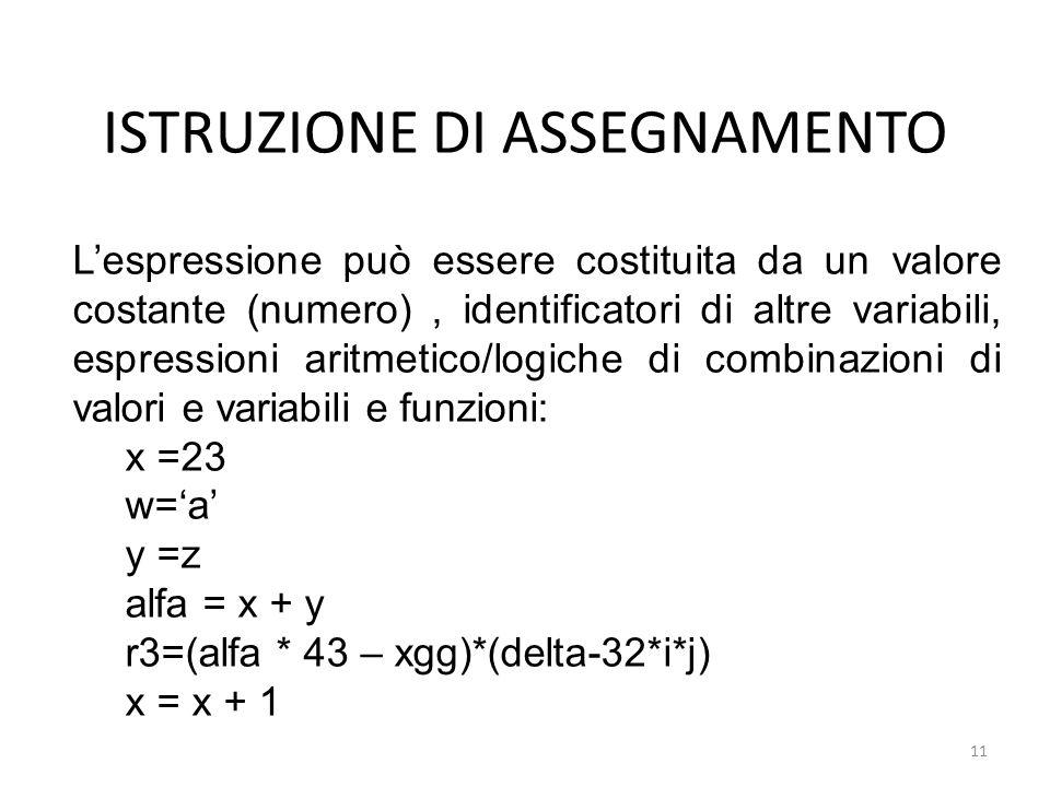 ISTRUZIONE DI ASSEGNAMENTO Lespressione può essere costituita da un valore costante (numero), identificatori di altre variabili, espressioni aritmetic