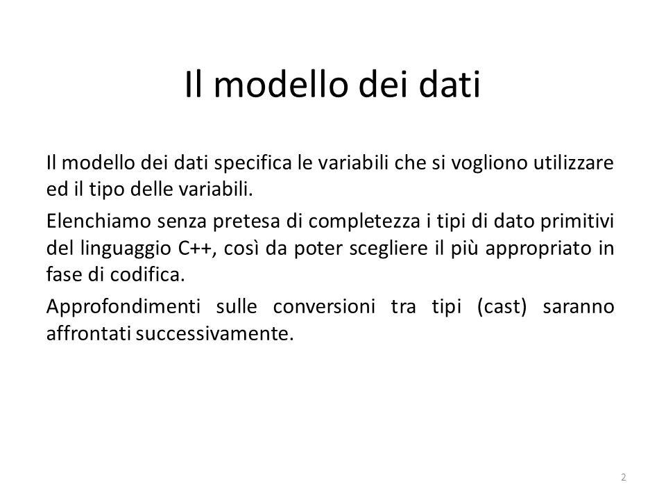 Il modello dei dati Il modello dei dati specifica le variabili che si vogliono utilizzare ed il tipo delle variabili. Elenchiamo senza pretesa di comp
