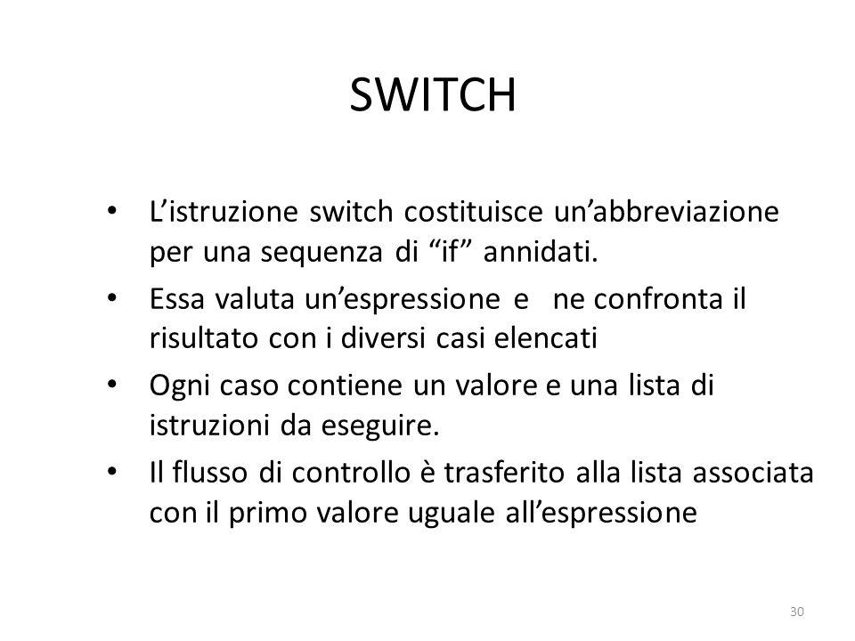 SWITCH Listruzione switch costituisce unabbreviazione per una sequenza di if annidati. Essa valuta unespressione e ne confronta il risultato con i div