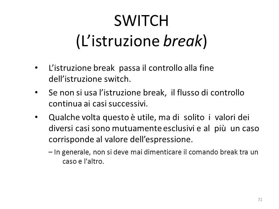 SWITCH (Listruzione break) Listruzione break passa il controllo alla fine dellistruzione switch. Se non si usa listruzione break, il flusso di control