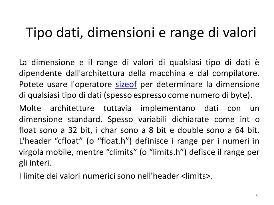 Tipo dati, dimensioni e range di valori La dimensione e il range di valori di qualsiasi tipo di dati è dipendente dall'architettura della macchina e d