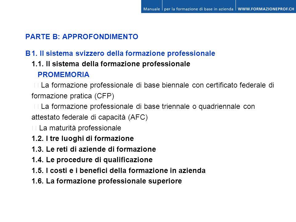 PARTE B: APPROFONDIMENTO B1. Il sistema svizzero della formazione professionale 1.1. Il sistema della formazione professionale PROMEMORIA La formazion