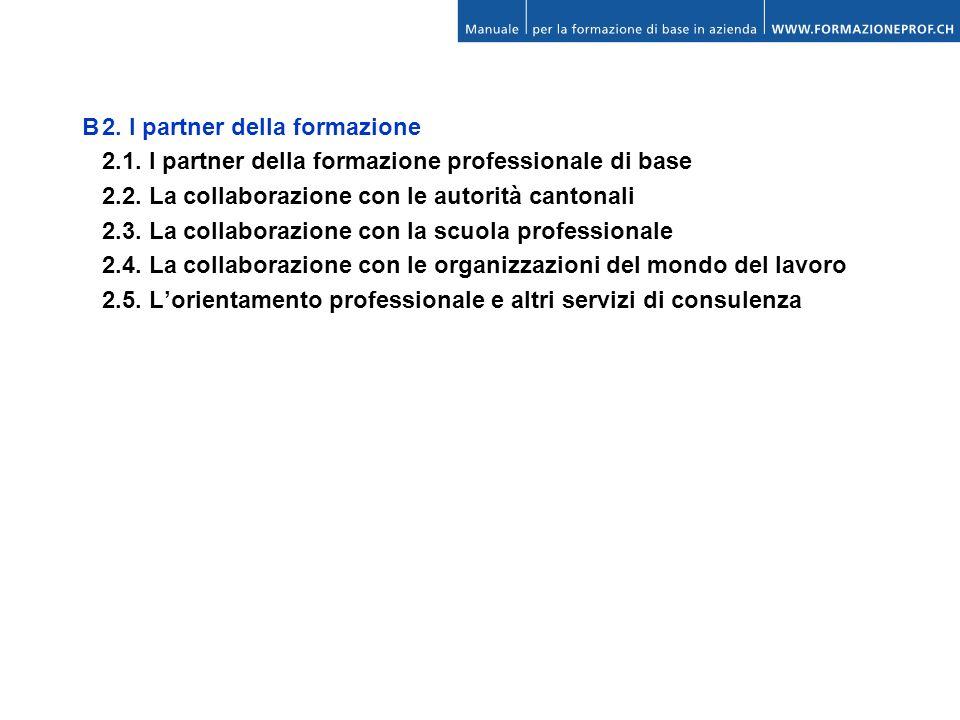 B2. I partner della formazione 2.1. I partner della formazione professionale di base 2.2. La collaborazione con le autorità cantonali 2.3. La collabor