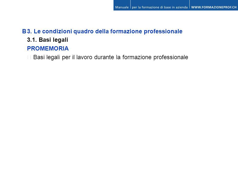 B3. Le condizioni quadro della formazione professionale 3.1. Basi legali PROMEMORIA Basi legali per il lavoro durante la formazione professionale