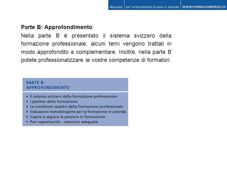 Parte B: Approfondimento Nella parte B è presentato il sistema svizzero della formazione professionale, alcuni temi vengono trattati in modo approfond